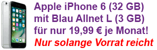 Blau Allnet Flat Aktion mit Apple iPhone 6