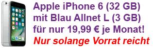 Blau Allnet Flat Aktion mit Apple iPhone 6