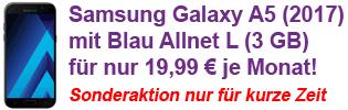 Blau Allnet Flat Aktion mit Samsung Galaxy A5 (2017)