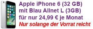 Apple iPhone 6 günstig mit Blau Allnet Flat