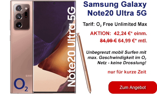 Samsung Galaxy Note20 Ultra 5G bei o2