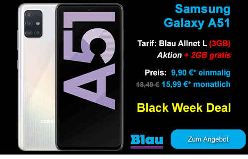 Black Week Deal / Black Friday Angebot mit Samsung Galaxy A51 bei Blau.de